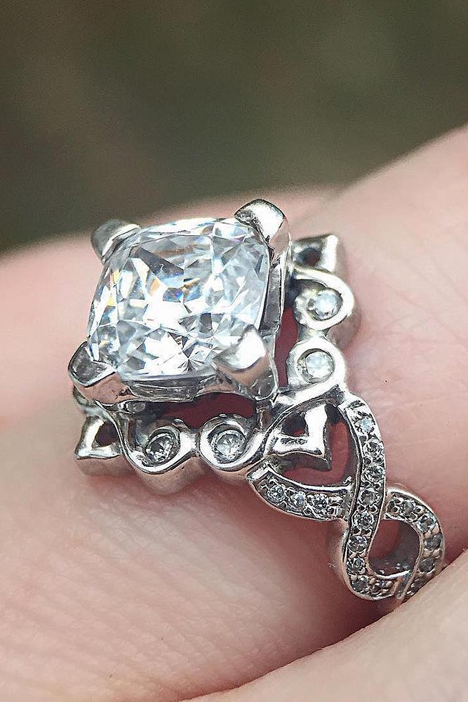 modern engagement rings princess cut diamond white gold unique
