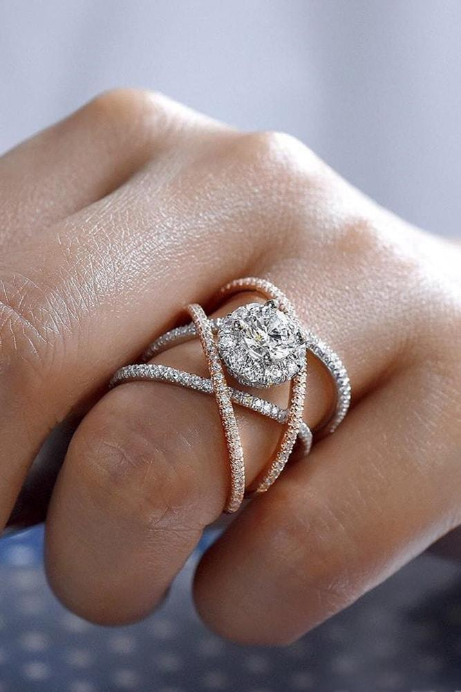 modern engagement rings ring with mixed metals rose gold white gold round cut diamond pave band split shank