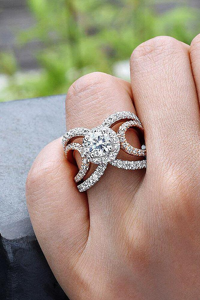modern engagement rings round diamond gold halo twist pave band