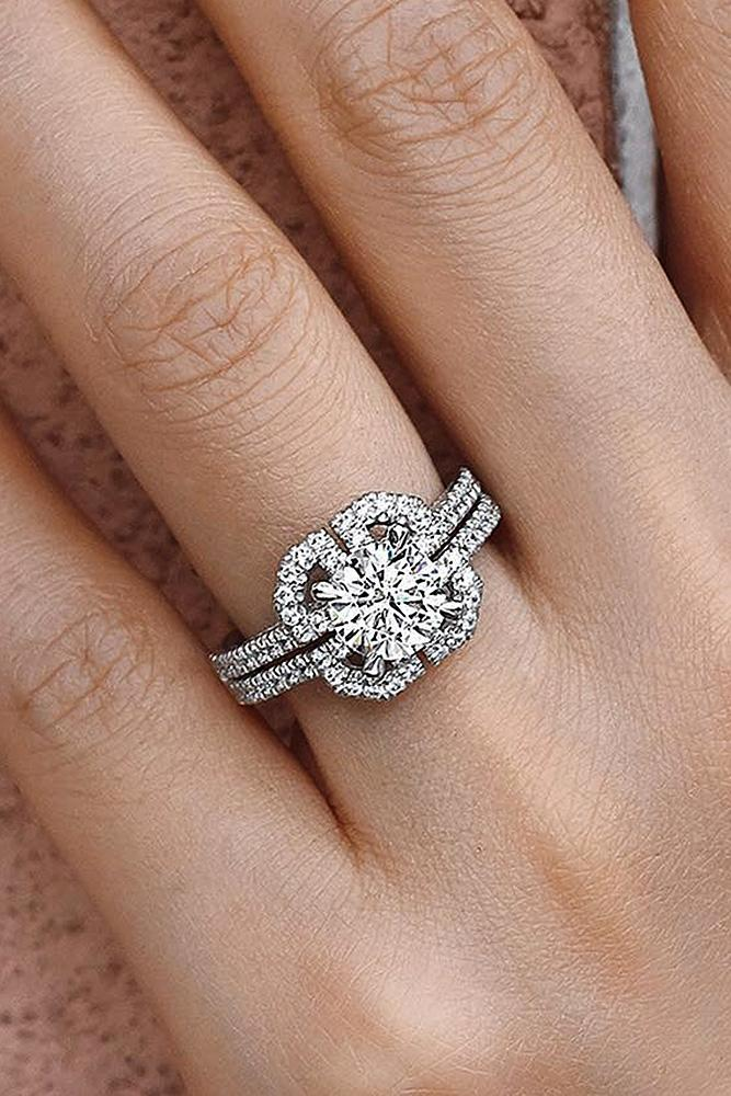 modern engagement rings round diamond solitaire split pave band white gold