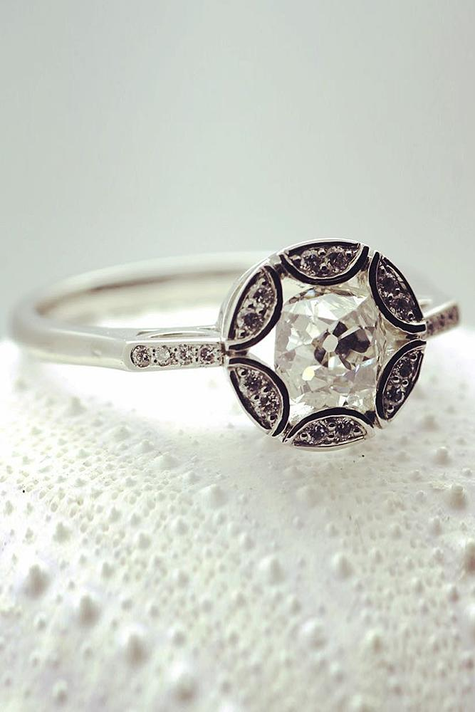modern engagement rings round diamond white gold pave band