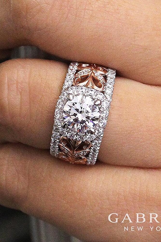 modern engagement rings round halo diamond gold