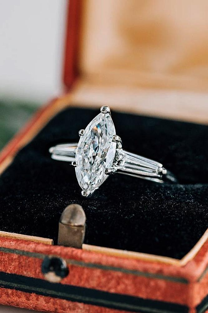 modern engagement rings solitaire marquise cut white gold