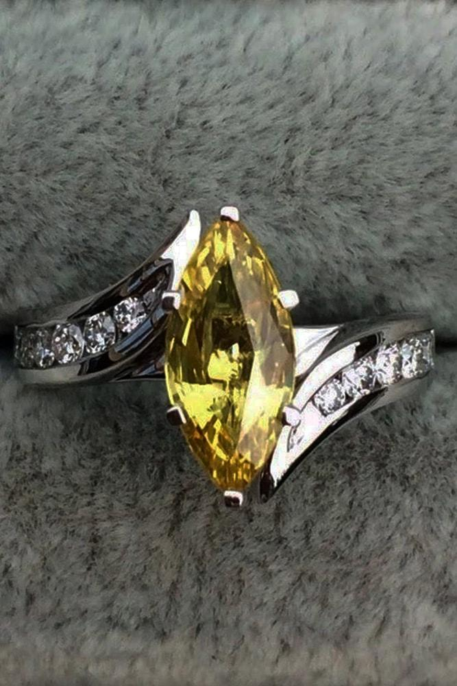 modern engagement rings white gold marquise cut yellow sapphire pave band with diamonds split shank