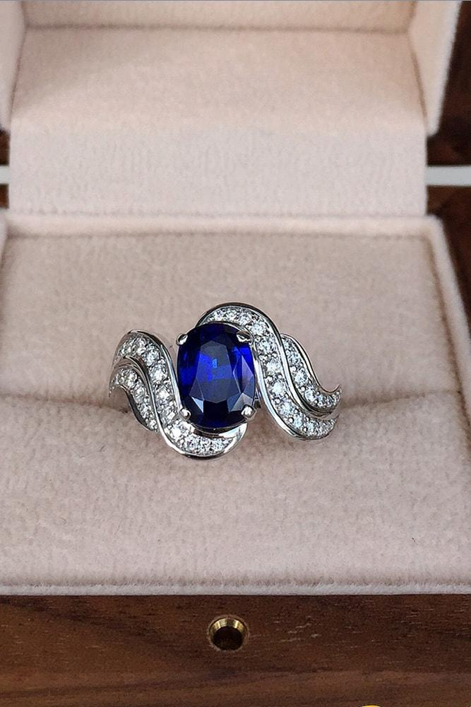 modern engagement rings white gold oval cut sapphire pave band with diamonds split shank