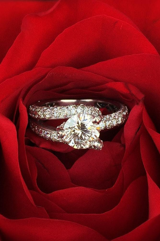 modern engagement rings white gold round cut diamond pave band with diamonds split shank