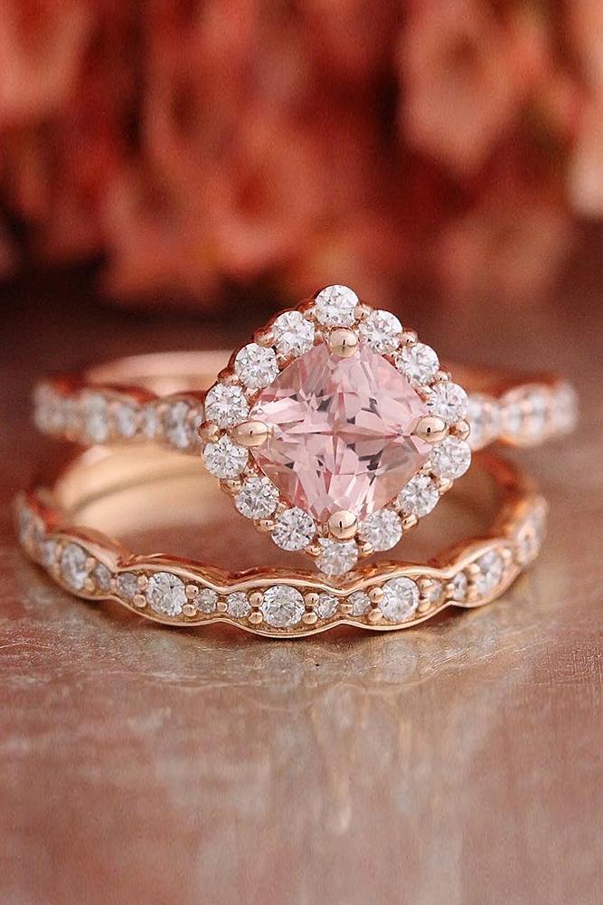 morganite engagement rings cushion cut halo set rose gold