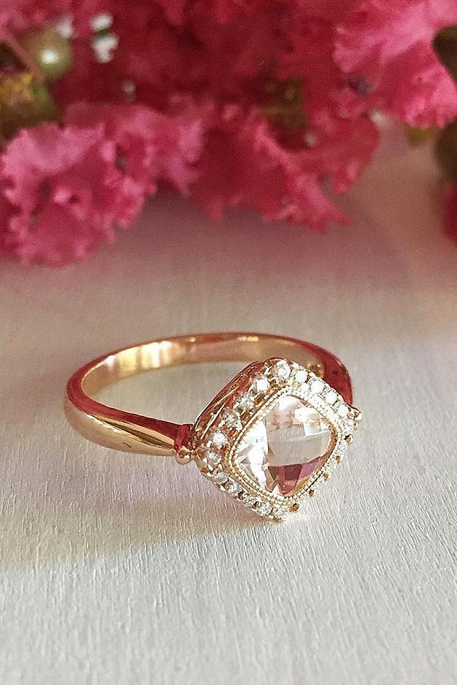 morganite engagement rings cushion cut halo yellow gold