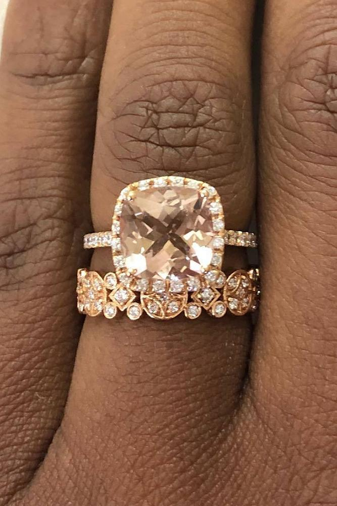 morganite engagement rings cushion cut morganite stone wedding set with floral band rose gold