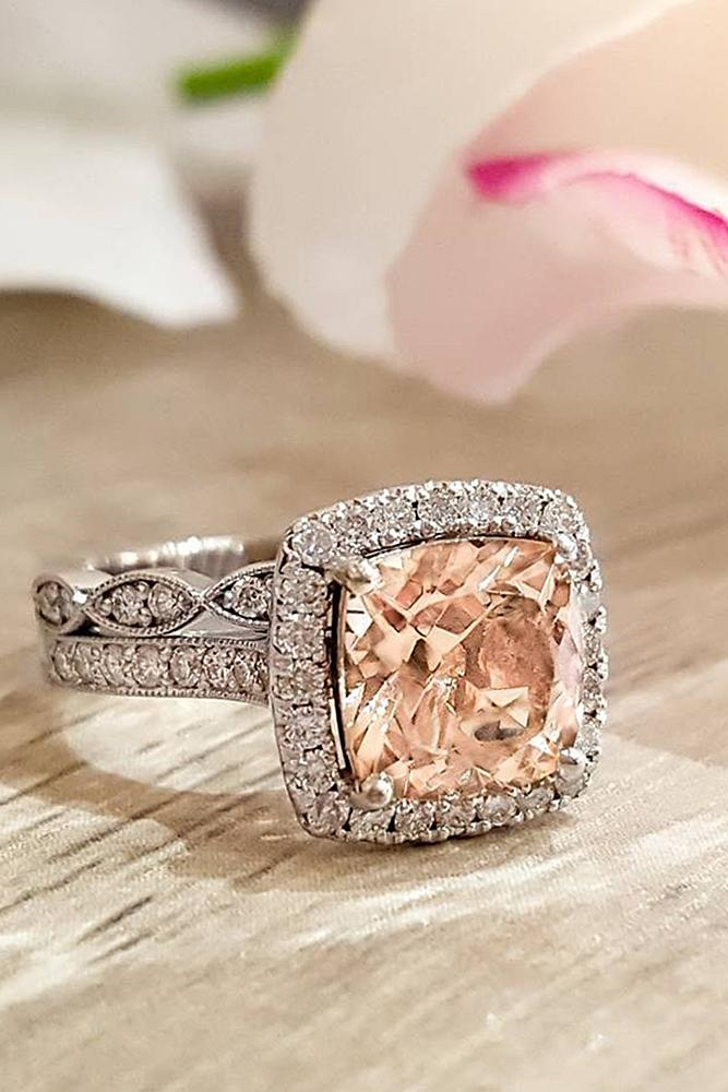 morganite engagement rings cushion cut pave band halo white gold