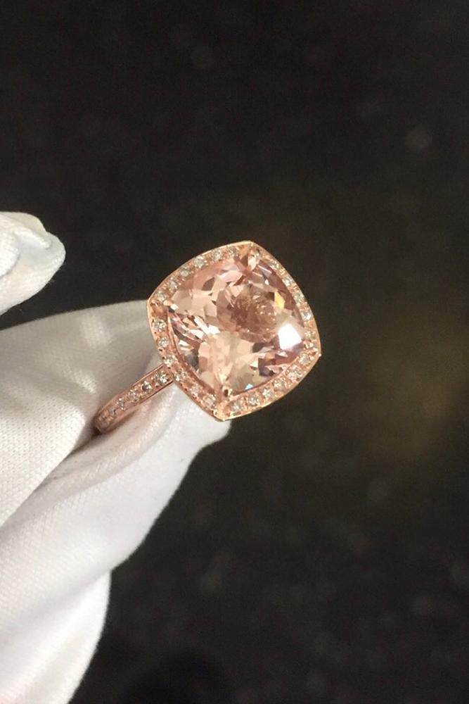 morganite engagement rings cushion cut stone morganite halo rose gold