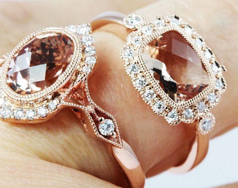 morganite engagement rings halo rose gold