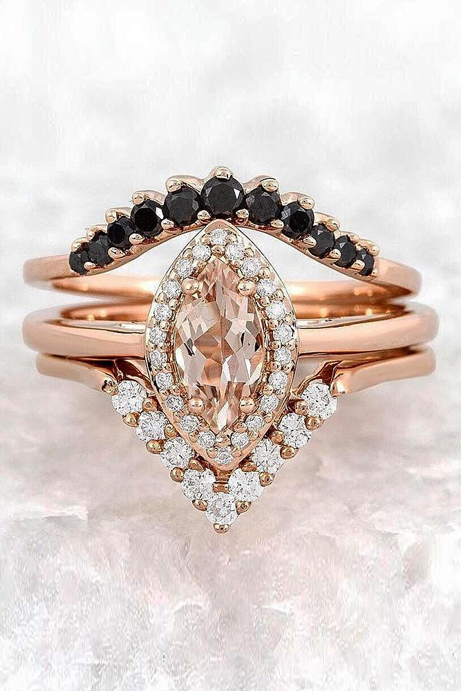 morganite engagement rings halo set rose gold
