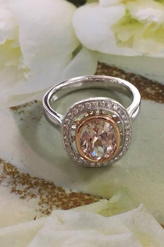 morganite engagement rings ovalcut morganite stone with halo white gold