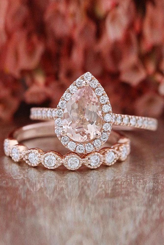 morganite engagement rings pear halo set rose gold
