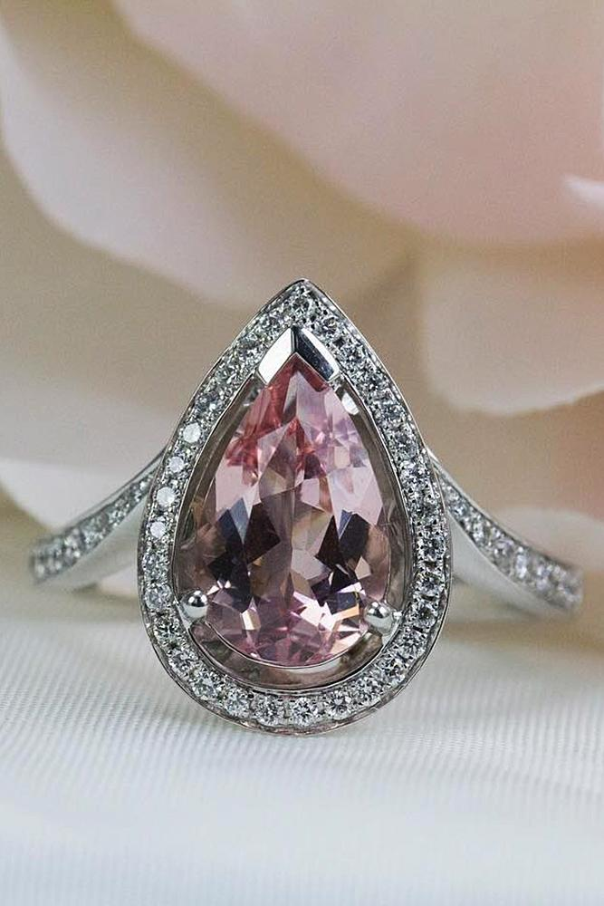 morganite engagement rings pear pave band halo white gold