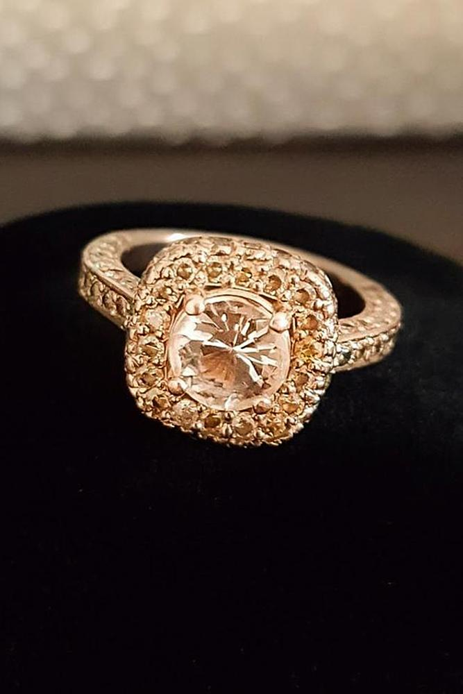 morganite engagement rings round pave band halo gold