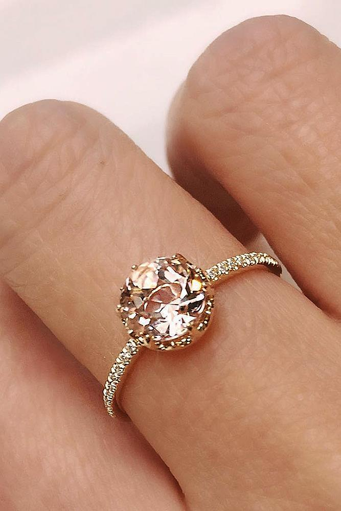 morganite engagement rings solitaire pave band gold oval