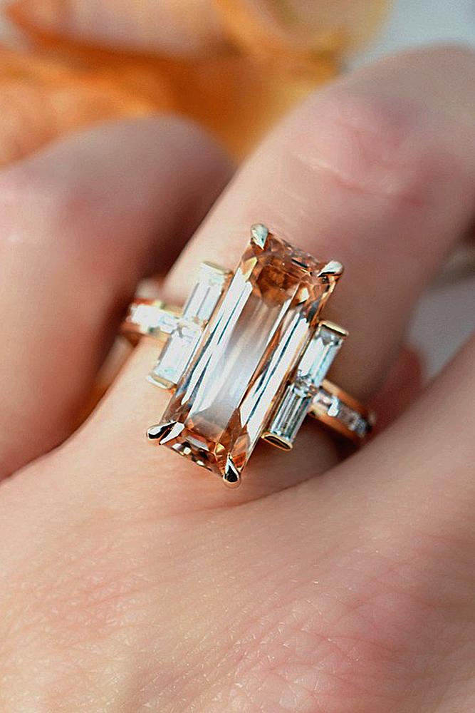 morganite engagement rings unique emerald cut three stones modern