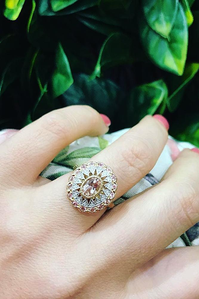 morganite engagement rings unique halo gold oval