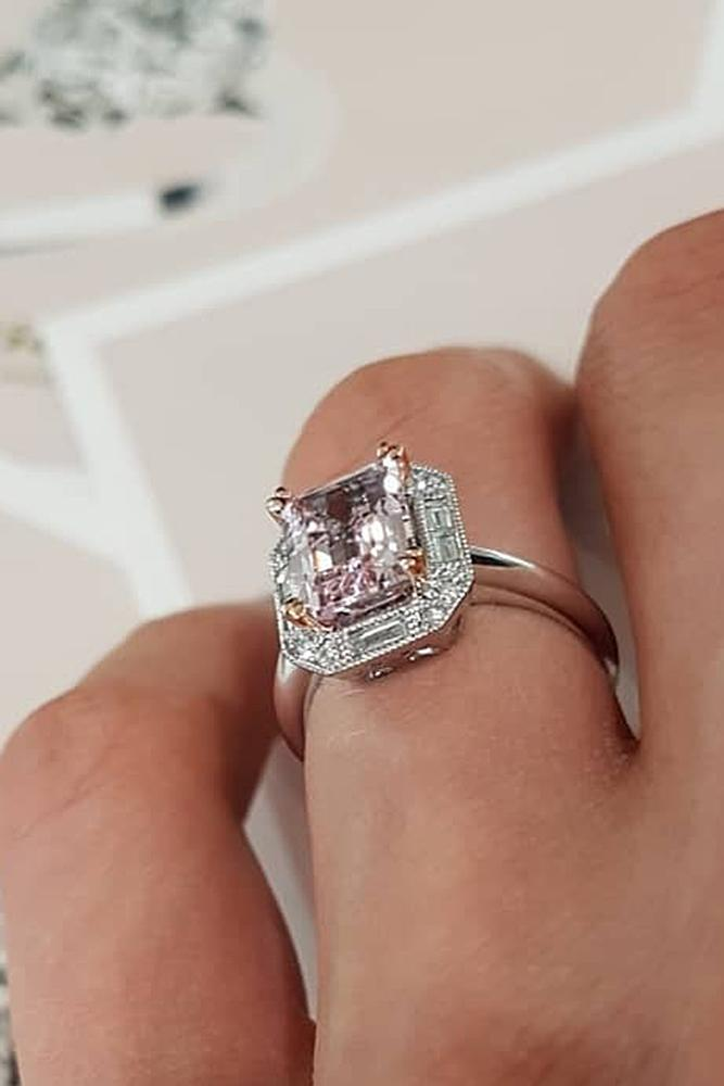 morganite engagement rings unique white gold emerald cut