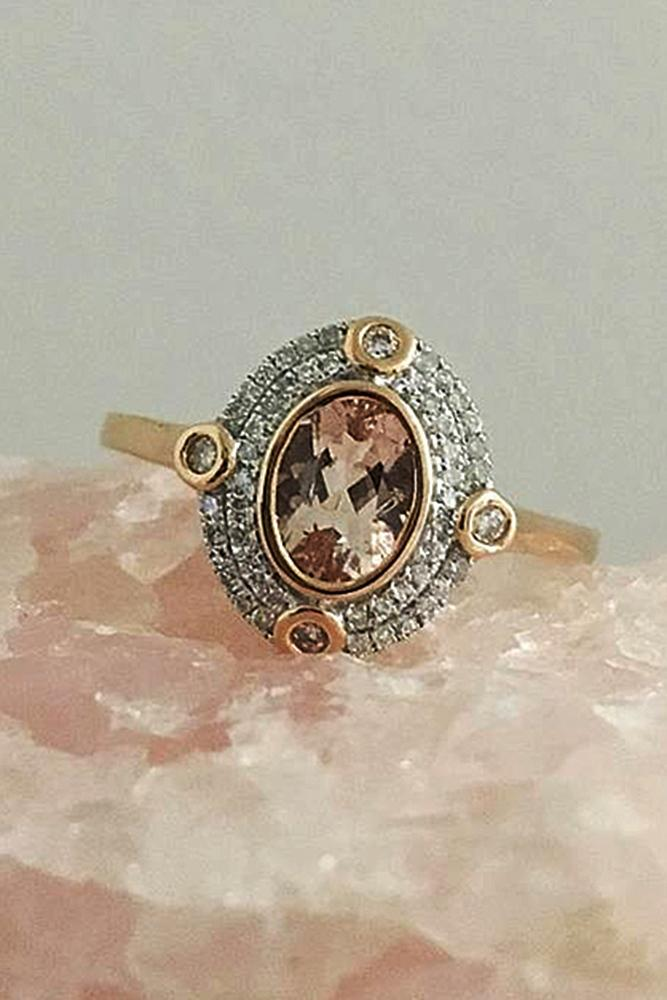 morganite engagement rings vintage halo rose gold oval