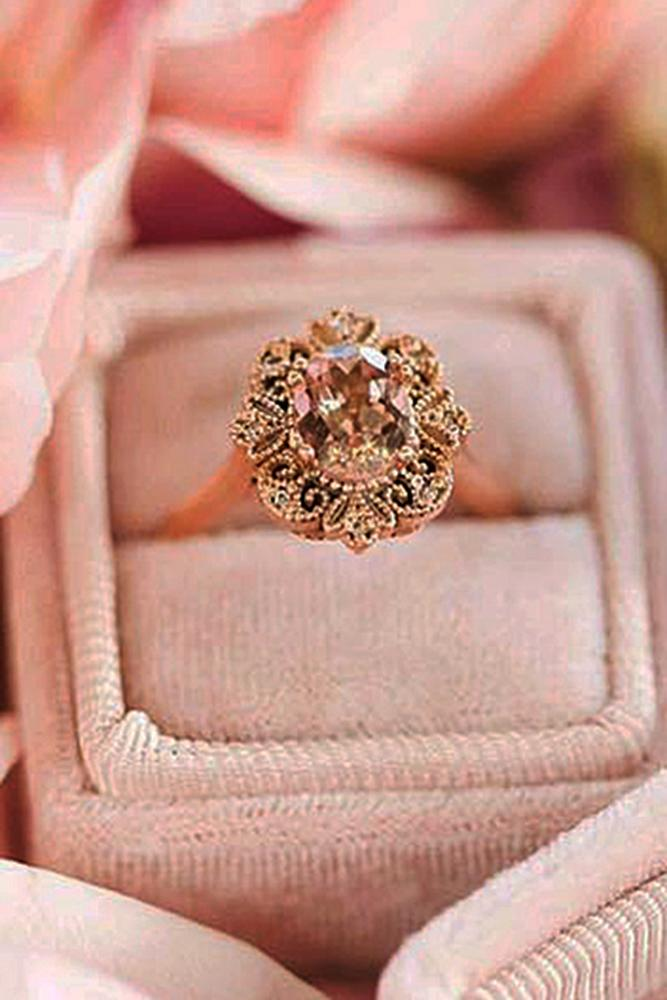 morganite engagement rings vintage rose gold oval