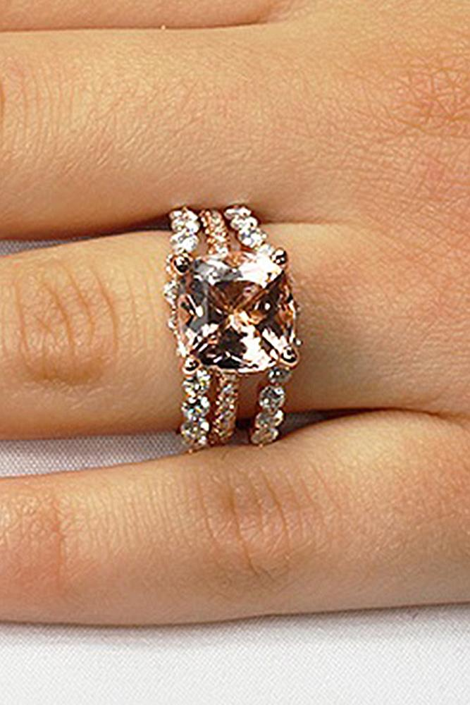 morganite engagement rings wedding set cushion cut solitaire