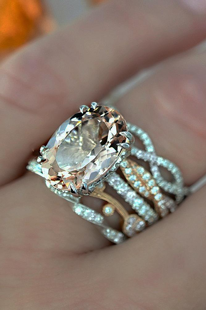 morganite engagement rings wedding set stack oval cut solitaire