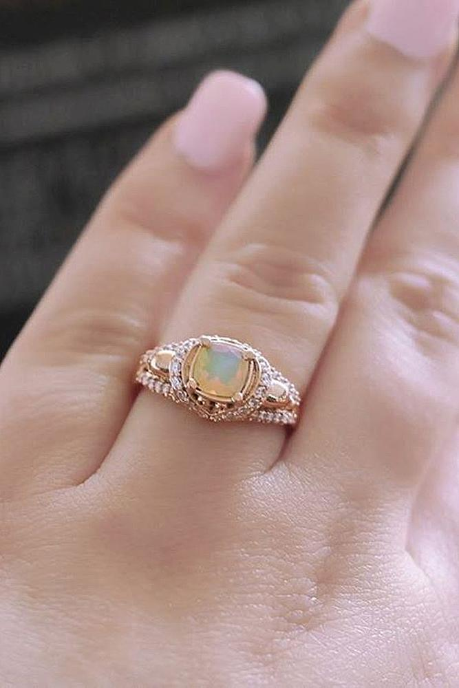 opal engagement rings cushion cut rose gold vintage