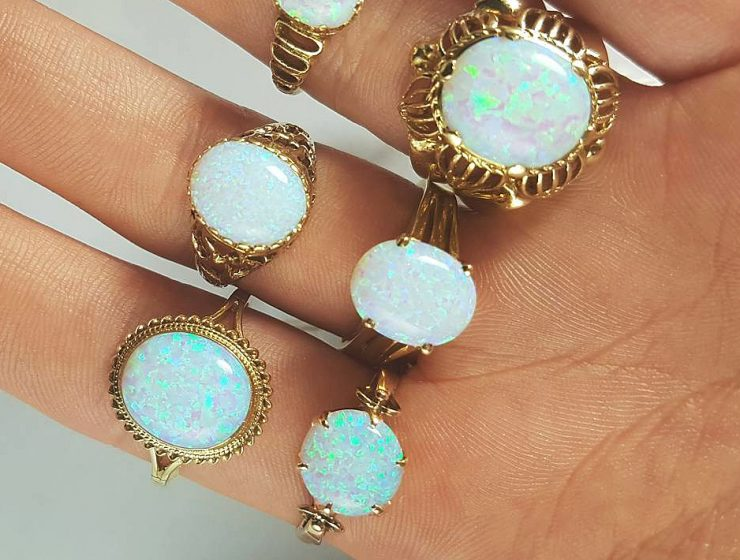 opal engagement rings gold round gemstone