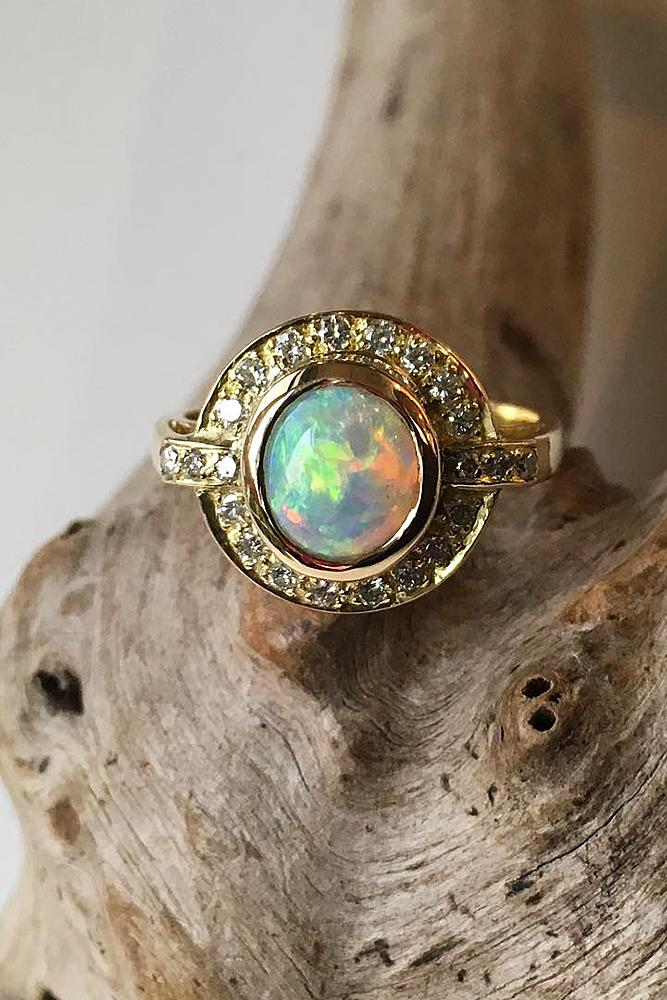 opal engagement rings halo modern round gold