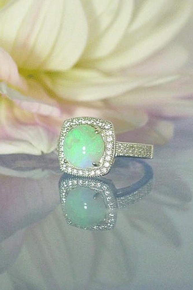 opal engagement rings halo modern round white gold