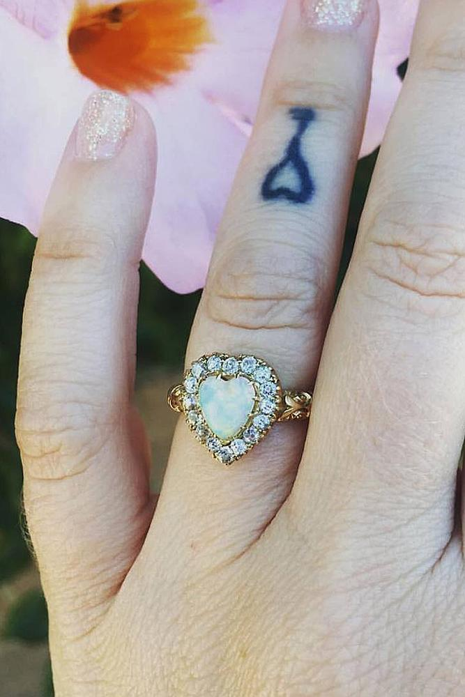 opal engagement rings halo oval gold diamonds