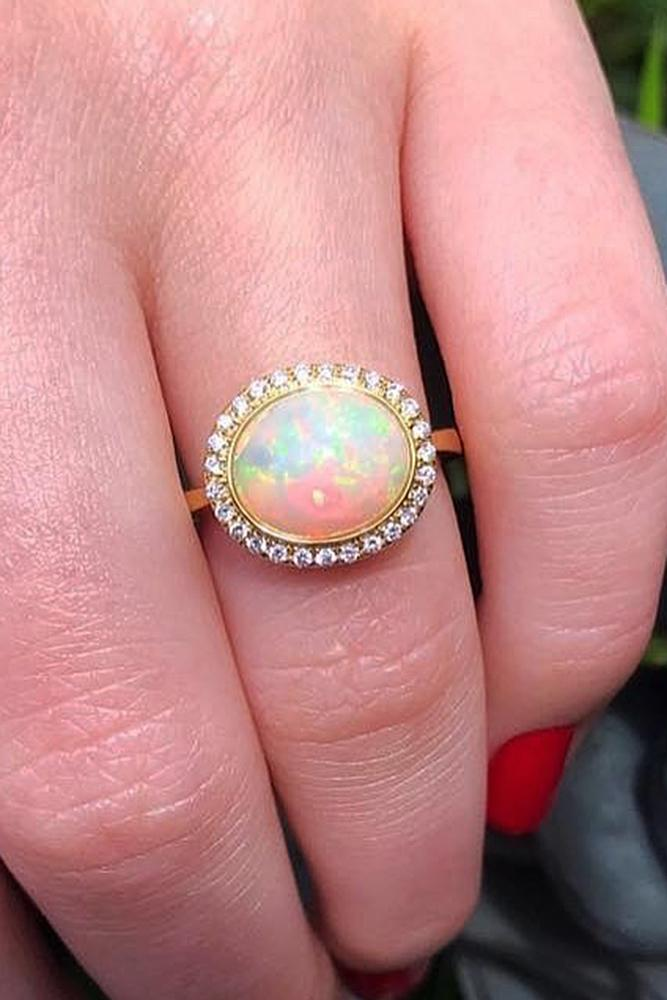opal engagement rings halo oval rose gold