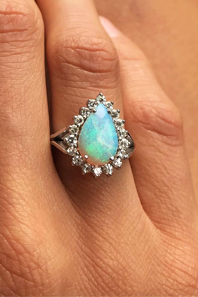 opal engagement rings halo pear white gold split