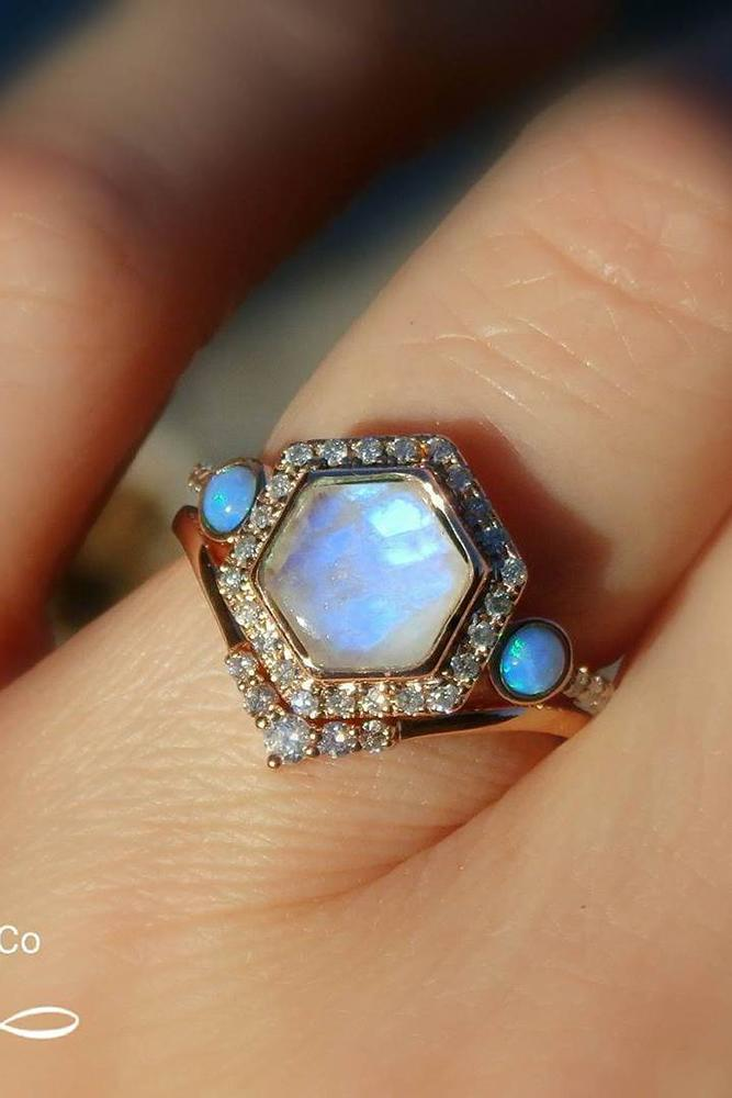 opal engagement rings hexagon opalstone diamond halo colorful gems