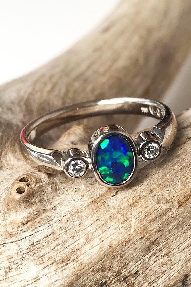 Opal Engagement Rings Oval White Gold Simple Black Opal