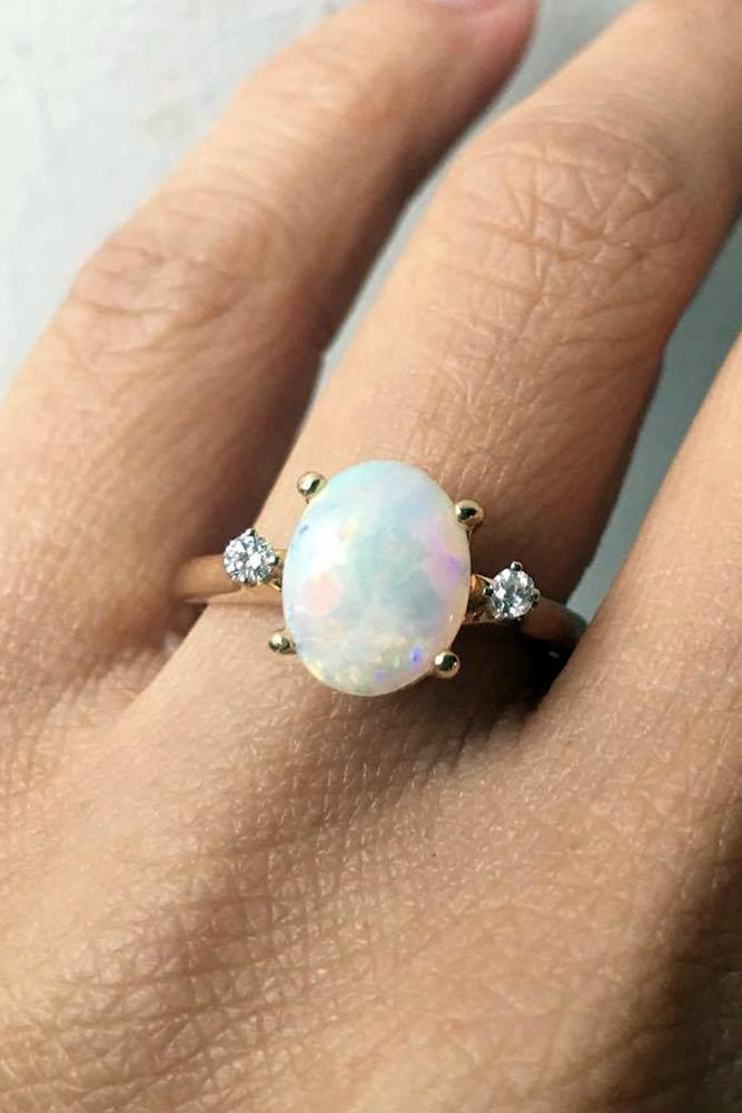 opal engagement rings ovalcut opalstone diamond