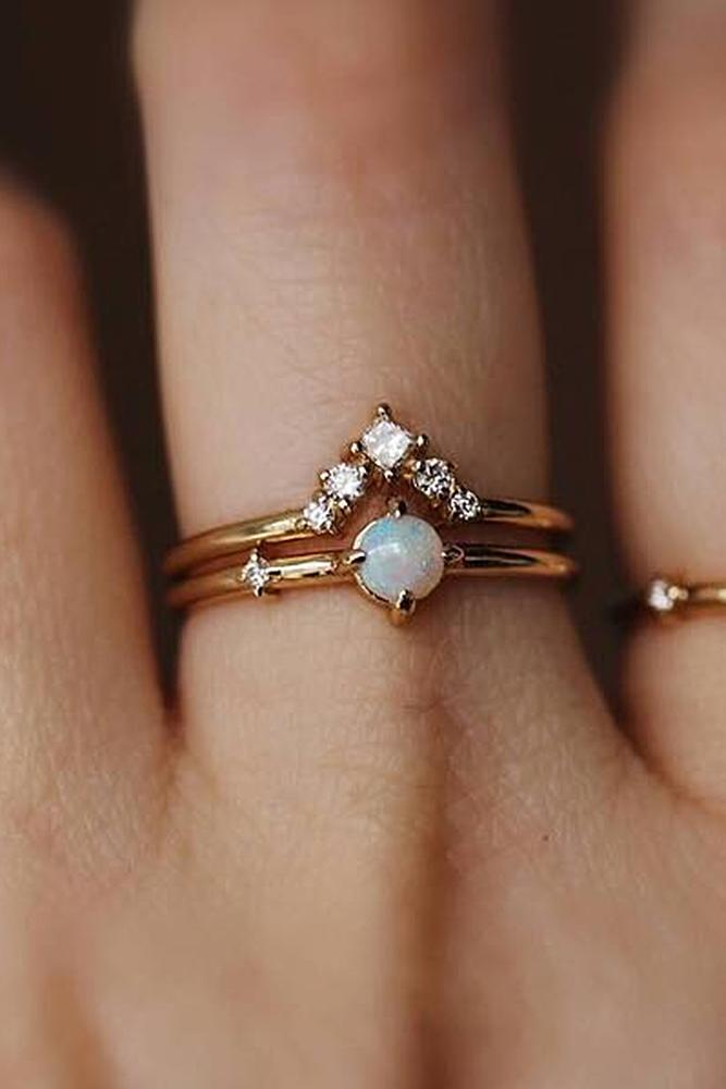 opal engagement rings rose gold round cut wedding set