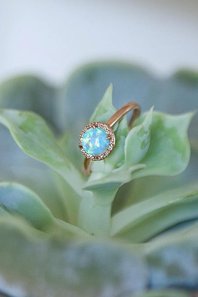 opal engagement rings rose gold round simple