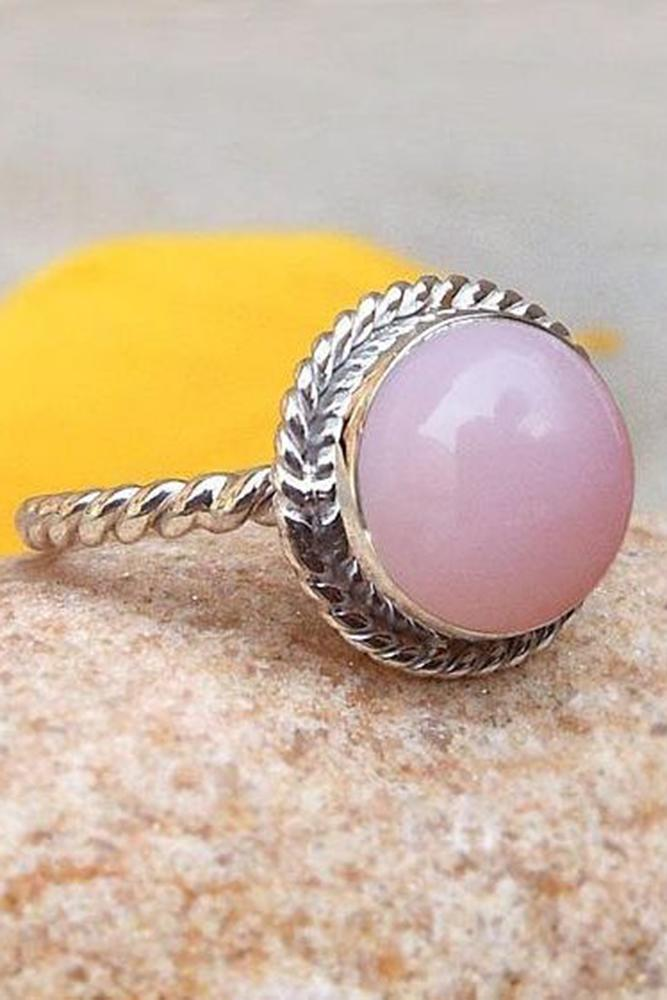 opal engagement rings round cut rose opalstone vintage