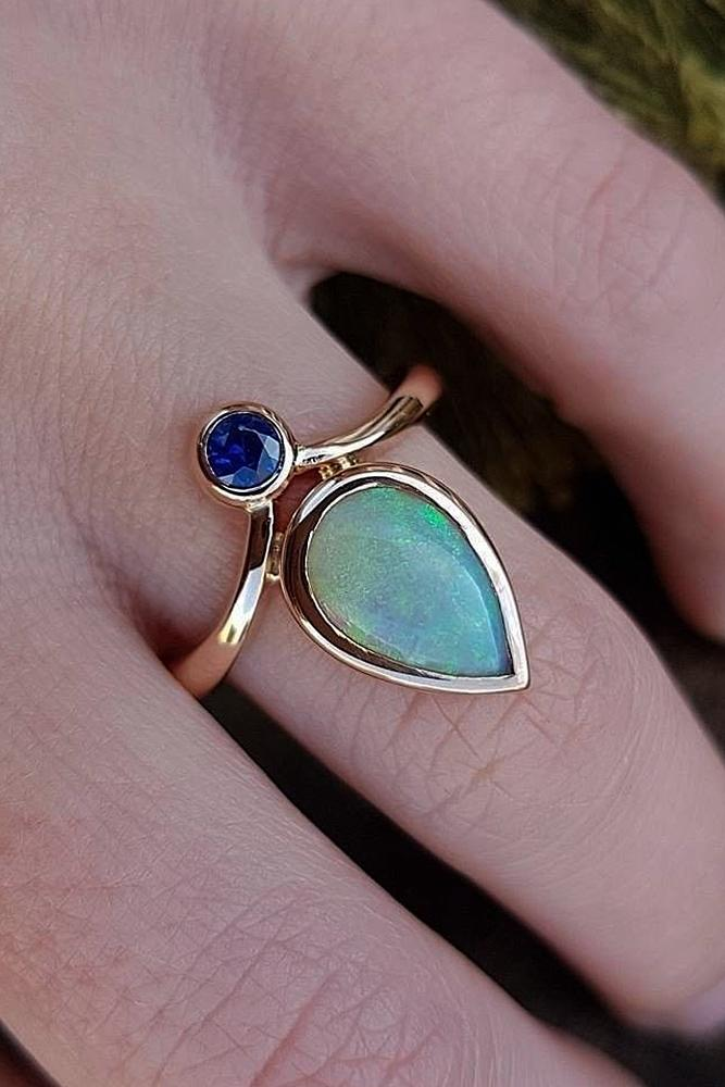 opal engagement rings unique pear cut rose gold
