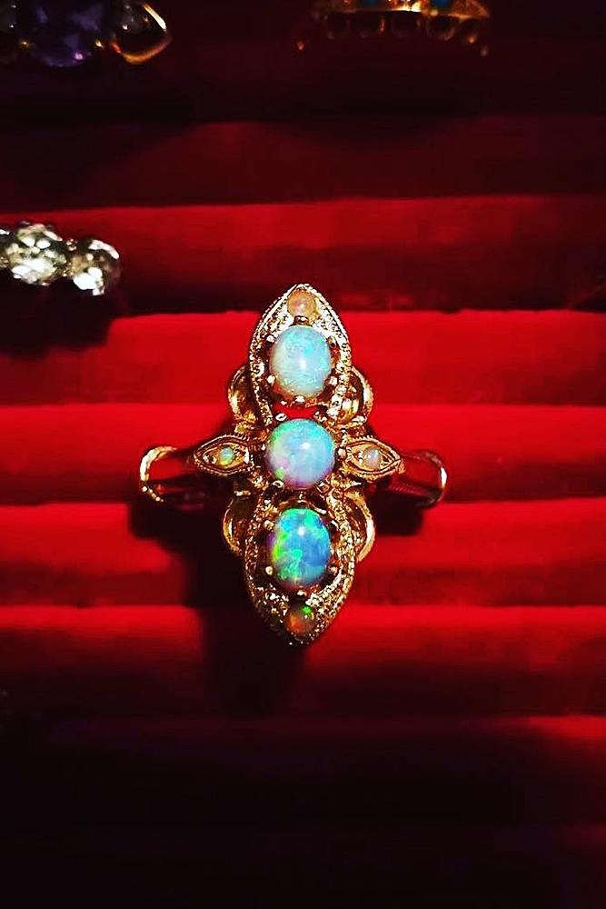 opal engagement rings vintage gold unique