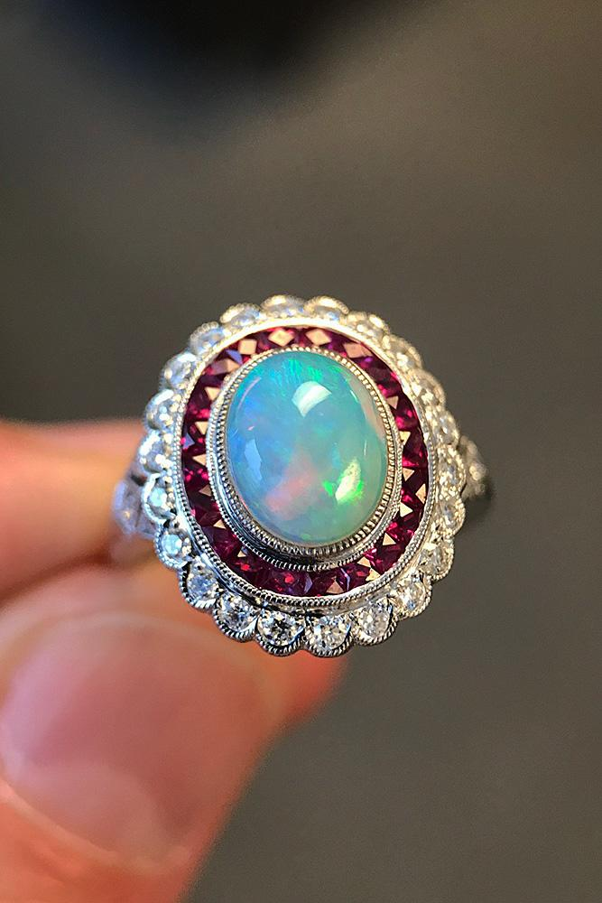 opal engagement rings vintage white gold oval cut floral halo