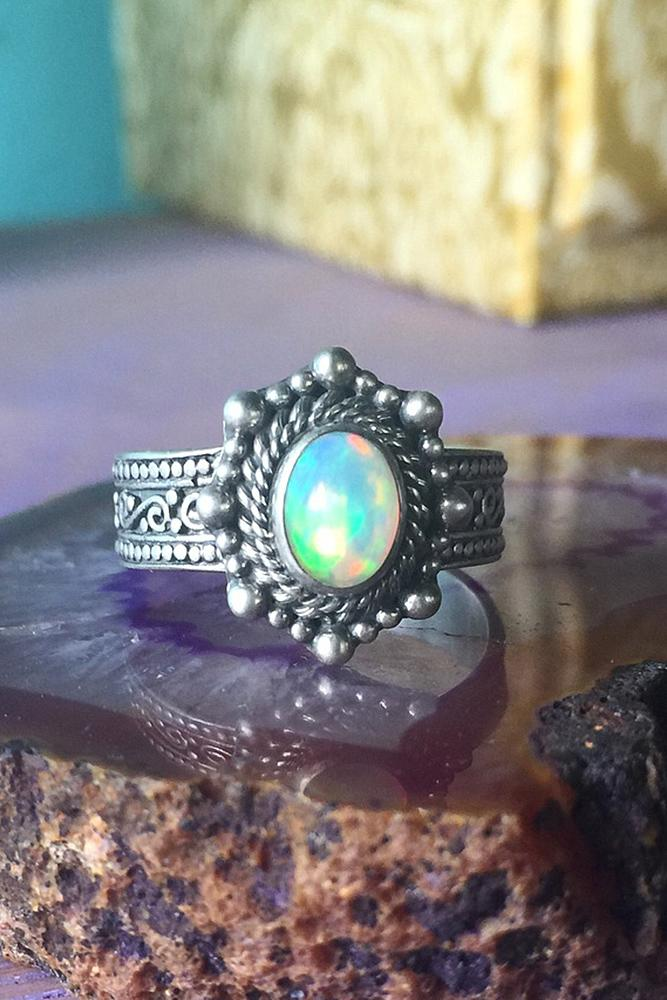 opal engagement rings vintage white gold unique oval