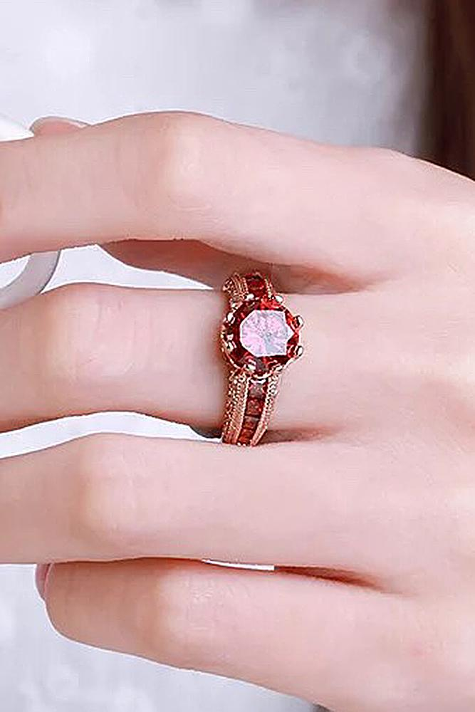 ruby engagement rings art deco vintage round cut rose gold