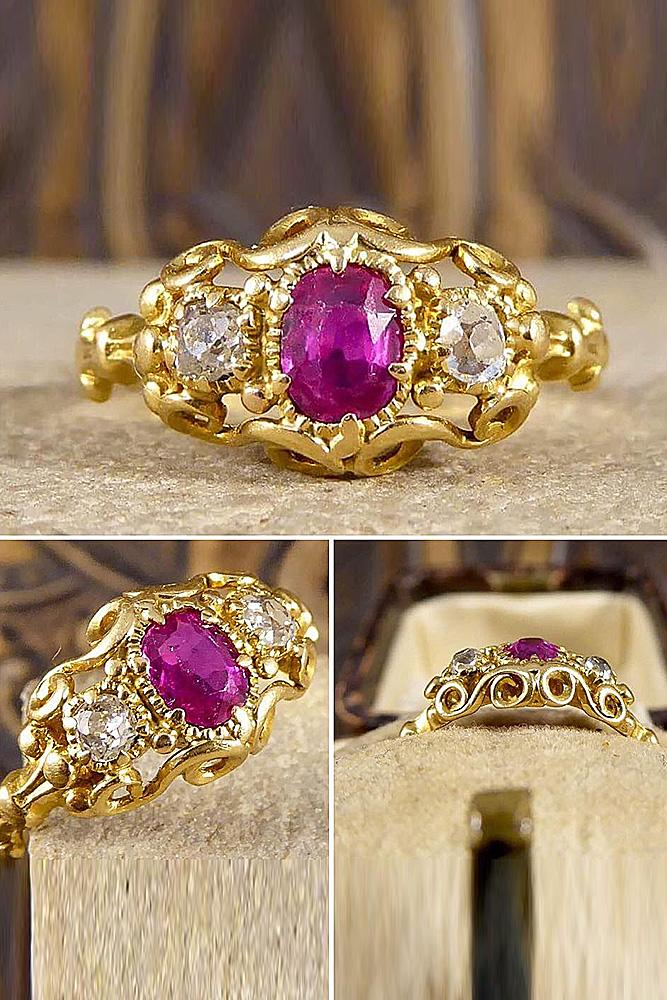 ruby engagement rings art deco yellow gold oval cut