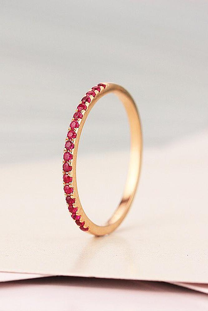 ruby engagement rings band rose gold pave