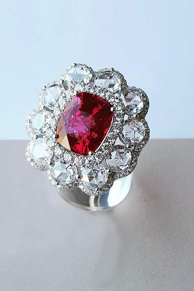 ruby engagement rings cushion cut halo white gold floral